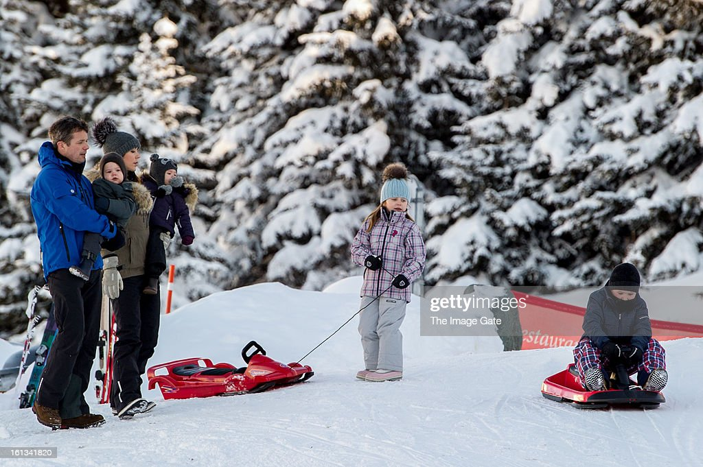 Crown Prince Frederik of Denmark, Prince Vincent of Denmark, Princess Mary of Denmark, Princess Josephine of Denmark, Princess Isabella of Denmark and Prince Christian of Denmark meet the press, whilst on skiing holiday on February 10, 2013 in Verbier, Switzerland.