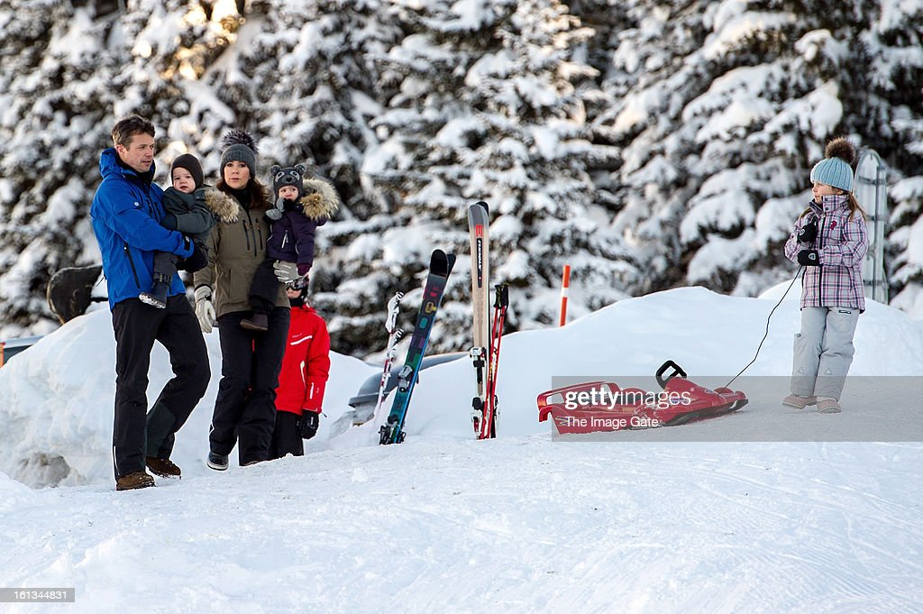 Crown Prince Frederik of Denmark, Prince Vincent of Denmark, Princess Mary of Denmark, Princess Josephine of Denmark and Princess Isabella of Denmark meet the press, whilst on skiing holiday on February 10, 2013 in Verbier, Switzerland.