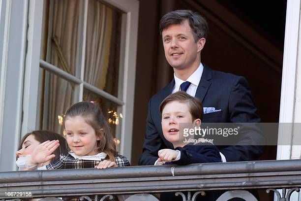 Crown Prince Frederik of Denmark with his children Princess Isabella and Prince Christian attend Queen Margrethe of Denmark's 73rd Birthday...