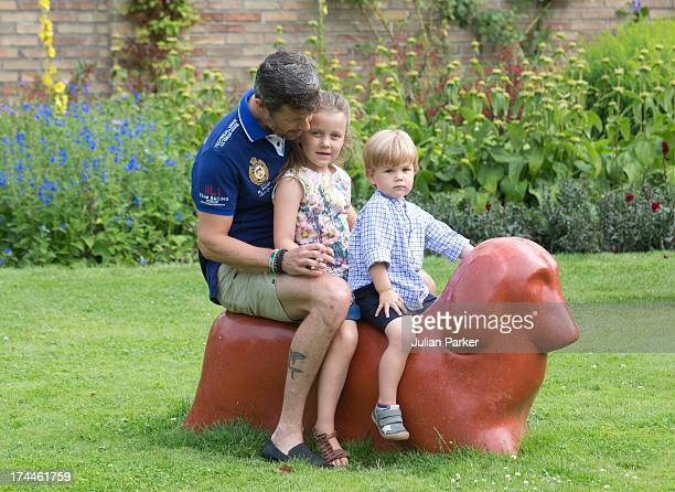 Crown Prince Frederik of Denmark with Princess Isabella of Denmark and Prince Vincent of Denmark attend the annual Summer photocall for the Royal...