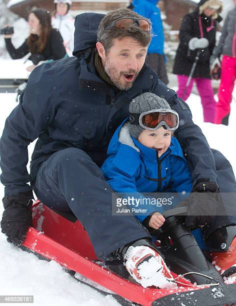 Crown Prince Frederik of DenmarkPrince Vincent of Denmark pose during their annual winter family holiday photocall on February 14 2014 in Verbier...