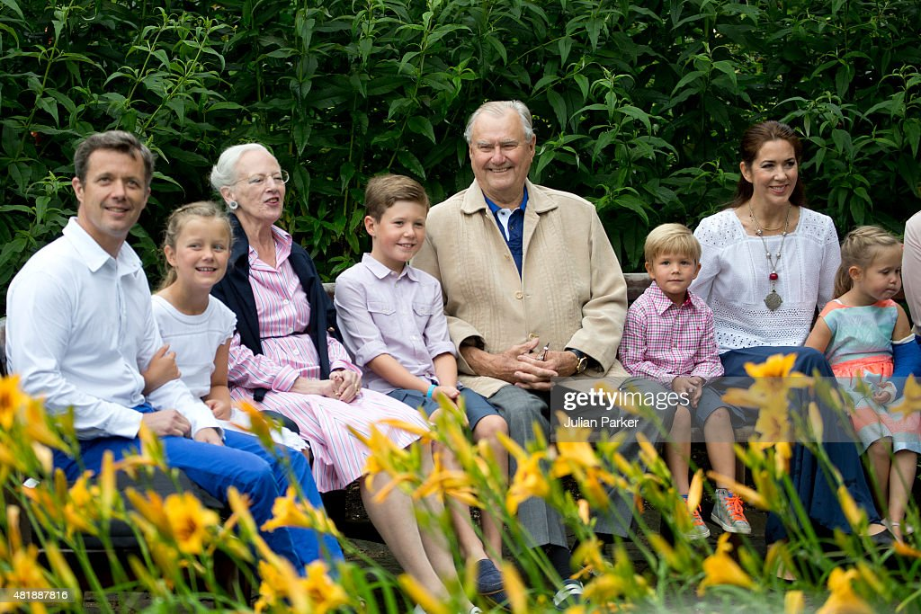 Crown Prince Frederik, Princess Isabella, Queen Margrethe of Denmark, Prince Christian, Prince Henrik, Prince Vincent, Crown Princess Mary and Princess Josephine attend the annual summer Photocall for The Danish Royal Family at Grasten Castle, on July 25, 2015 in Grasten, Denmark.