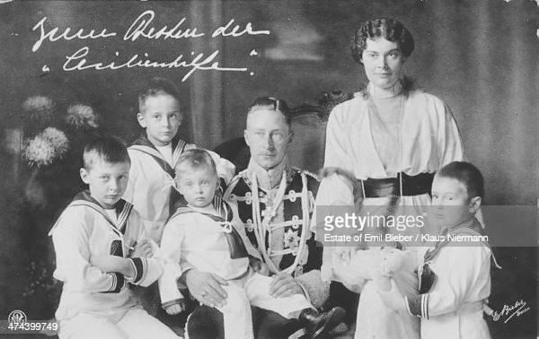 Crown Prince Friedrich Wilhelm of Germany and Prussia with his wife Cecilie of MecklenburgSchwerin and their sons Princes Wilhelm Louis Ferdinand...