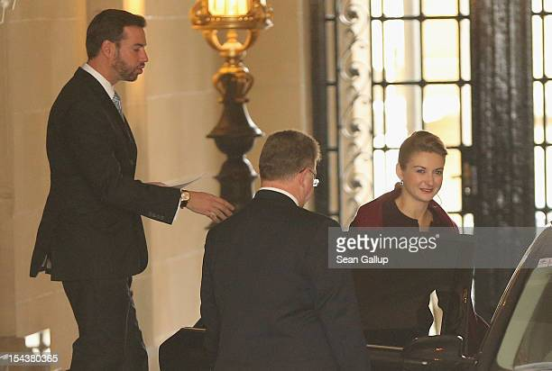 Crown Prince Guillaume of Luxembourg and Countess Stephanie de Lannoy depart from the Ducal Palace for the Grand Theatre to attend their first...