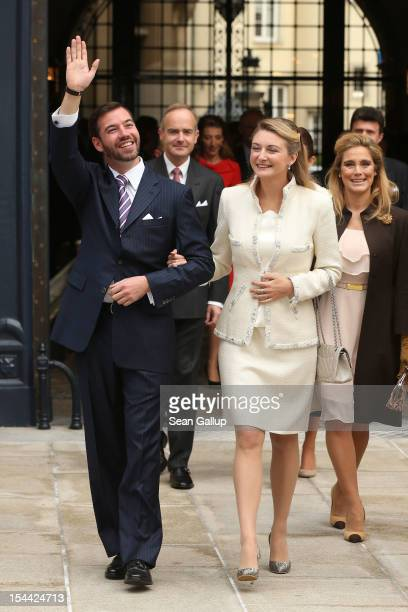 Crown Prince Guillaume of Luxembourg and Countess Stephanie de Lannoy depart the GrandDucal Palace prior to the civil ceremony for the wedding of...