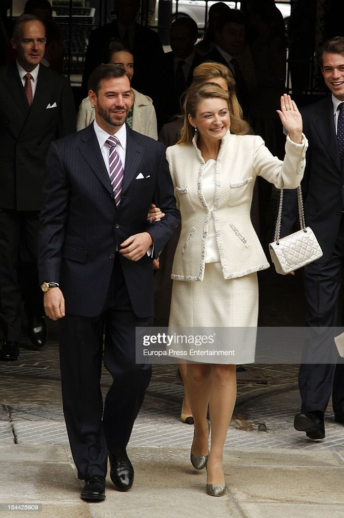 Crown Prince Guillaume of Luxembourg and Countess Stephanie de Lannoy depart the Grand-Ducal Palace prior to their civil ceremony at the Hotel De Ville on October 19, 2012 in Luxembourg, Luxembourg. The 30-year old hereditary Grand Duke of Luxembourg is the last hereditary Prince in Europe to get married, marrying his 28-year old Belgian Countess bride in a lavish 2-day ceremony.