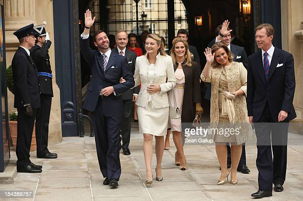 Crown Prince Guillaume of Luxembourg Countess Stephanie de Lannoy Duchess Maria Teresa of Luxembourg and Grand Duke Henri of Luxembourg depart with...