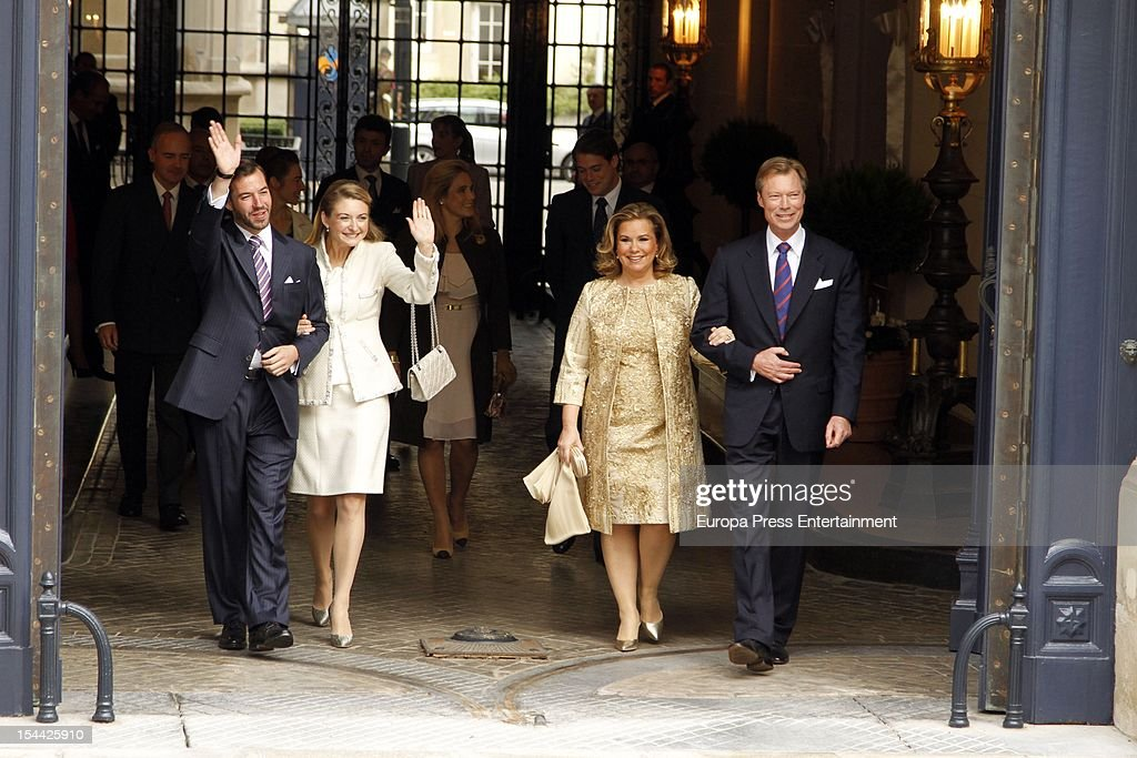 Crown Prince Guillaume of Luxembourg, Countess Stephanie de Lannoy, Duchess Maria Teresa of Luxembourg and Grand Duke Henri of Luxembourg depart the Grand-Ducal Palace prior to the civil ceremony for the wedding of Prince Guillaume of Luxembourg and Stephanie de Lannoy at the Hotel De Ville on October 19, 2012 in Luxembourg, Luxembourg. The 30-year old hereditary Grand Duke of Luxembourg is the last hereditary Prince in Europe to get married, marrying his 28-year old Belgian Countess bride in a lavish 2-day ceremony.
