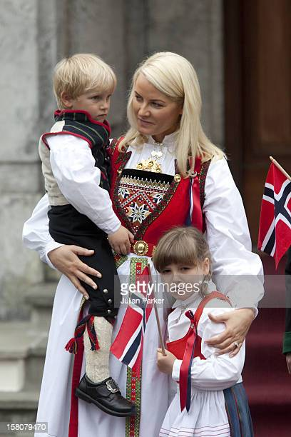 Crown Prince Haakon And Crown Princess Mette Marit Of Norway With Their Children Princess Ingrid Alexandra And Prince Sverre Magnus And Mette'S Son...