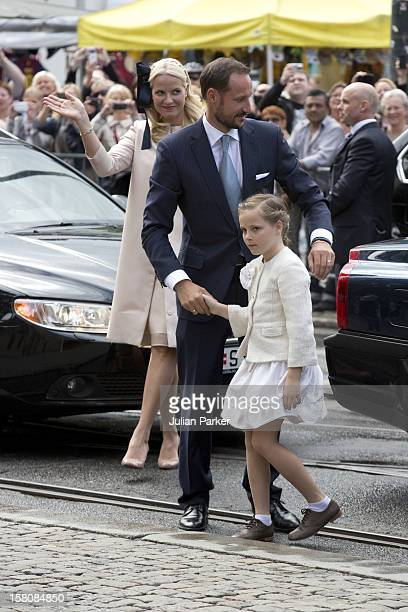 Crown Prince Haakon And Crown Princess Mette Marit With Princess Ingrid Alexandra Attend A Service At Oslo Cathedral To Celebrate The 75Th Birthday...