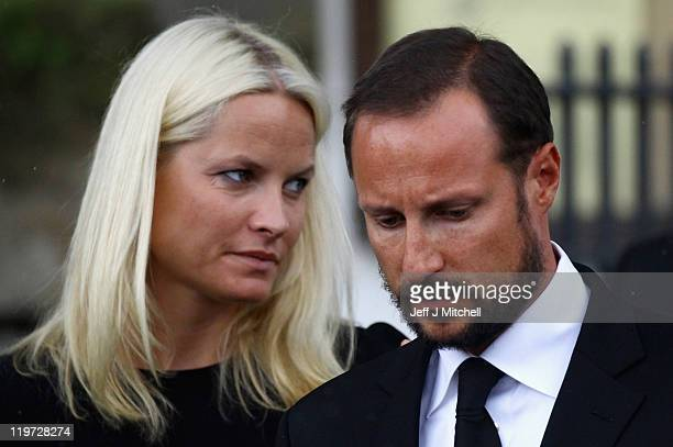 Crown Prince Haakon and Crown Princess MetteMarit attend a memorial service at Smmerapen Norderhov kirke following friday's twin extremist attacks on...