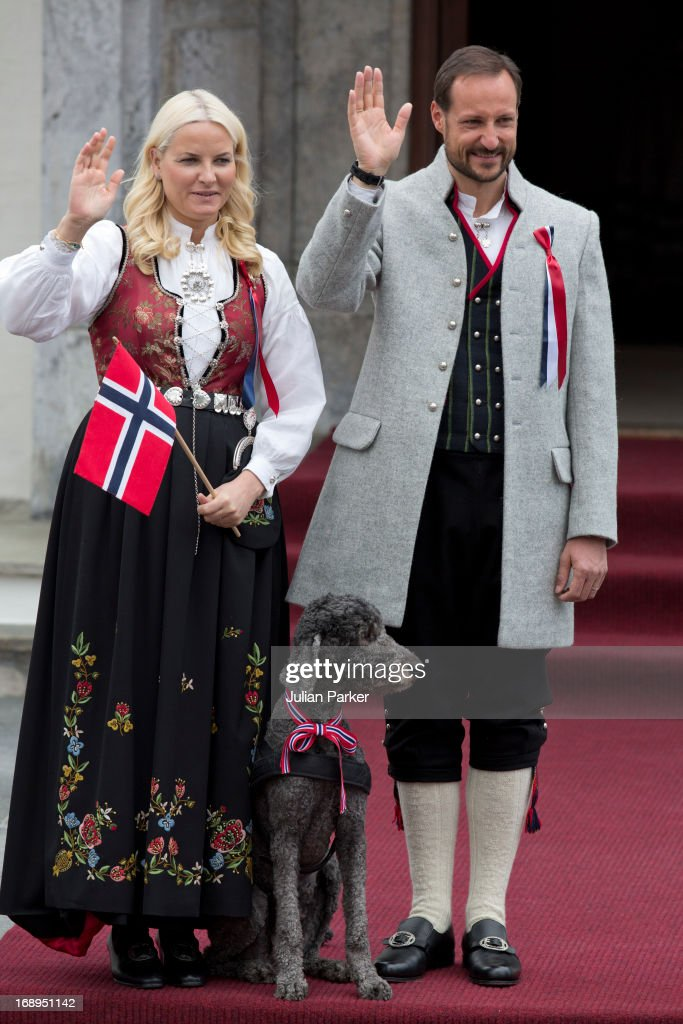 Crown Prince Haakon, and Crown Princess Mette-Marit of Norway, and Family Dog, Milly Kakao, celebrate Norway National Day at The Crown Prince couples residence, Skaugum, in Asker, near Oslo on May 17, 2013 in Asker, Norway.