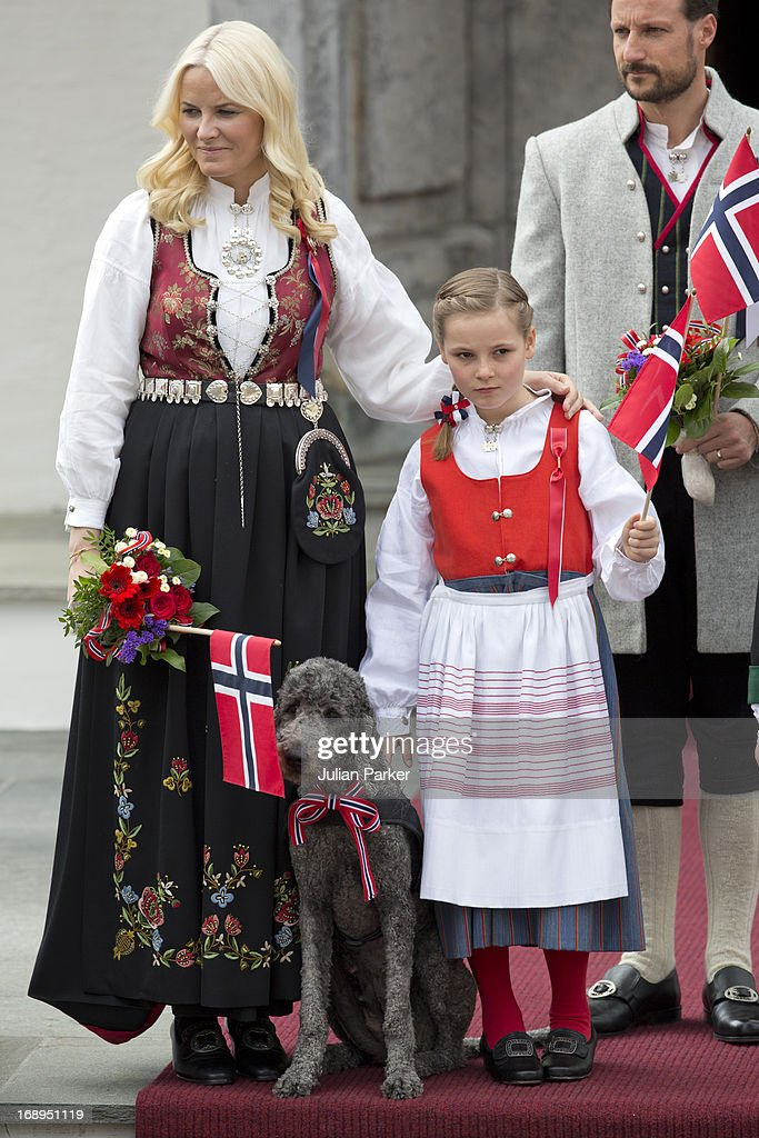 Crown Prince Haakon, and Crown Princess Mette-Marit of Norway, and Princess Ingrid Alexandra, and Family Dog, Milly Kakao, celebrate Norway National Day at The Crown Prince couples residence, Skaugum, in Asker, near Oslo on May 17, 2013 in Asker, Norway.