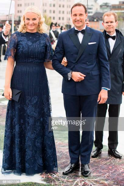 Crown Prince Haakon and Crown Princess MetteMarit of Norway arrive for a gala dinner at the Operahouse in Oslo on May 10 2017 in celebration of the...