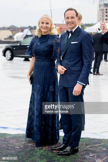 Crown Prince Haakon and Crown Princess MetteMarit of Norway arrive at the Opera House on the ocassion of the celebration of King Harald and Queen...