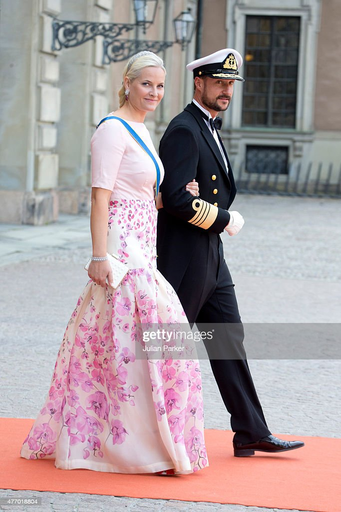 Crown Prince Haakon, and Crown Princess Mette-Marit of Norway ,arrives at The Royal Chapel, at The Royal Palace in Stockholm for The Wedding of Prince Carl Philip of Sweden and Sofia Hellqvist on June 13, 2015 in Stockholm, Sweden.