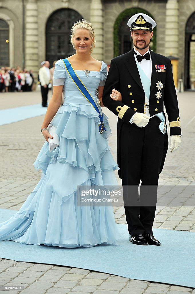 Crown Prince Haakon and Crown Princess Mette-Marit of Norway attend the wedding of Crown Princess Victoria of Sweden and Daniel Westling on June 19, 2010 in Stockholm, Sweden.