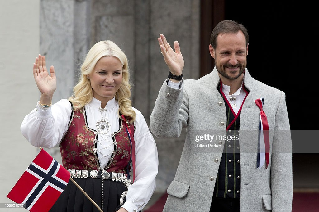 Crown Prince Haakon, and <a gi-track='captionPersonalityLinkClicked' href=/galleries/search?phrase=Crown+Princess+Mette-Marit&family=editorial&specificpeople=171288 ng-click='$event.stopPropagation()'>Crown Princess Mette-Marit</a> of Norway, celebrate Norway National Day at The Crown Prince couples residence, Skaugum, in Asker, near Oslo on May 17, 2013 in Asker Norway.