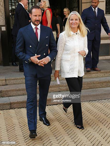 Crown Prince Haakon and Crown Princess MetteMarit of Norway depart the Cooper Hewitt Smithsonian Design after presenting a Norwegian textile that was...