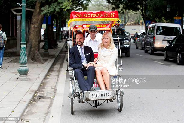Crown Prince Haakon and Crown Princess MetteMarit of Norway during day 1 of an official visit to Vietnam take a Cyclo ride back to the Sofitel...