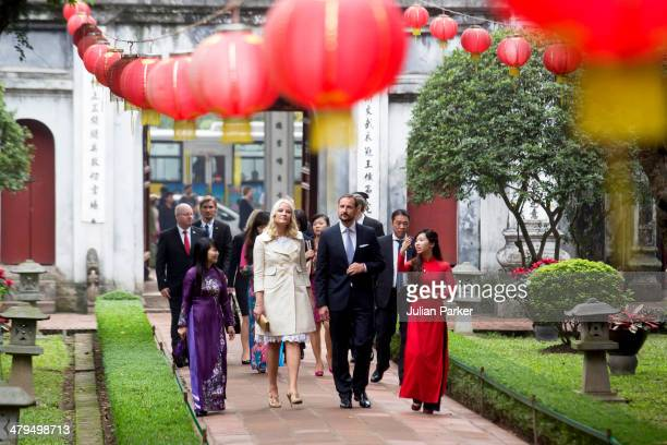 Crown Prince Haakon and Crown Princess MetteMarit of Norway during day 1 of an official visit to Vietnam visit The Temple of Literature on March 19...