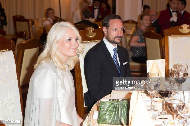 Crown Prince Haakon and Crown Princess MetteMarit of Norway during day 1 of an official visit to Vietnam attend a State Banquet at The Government...