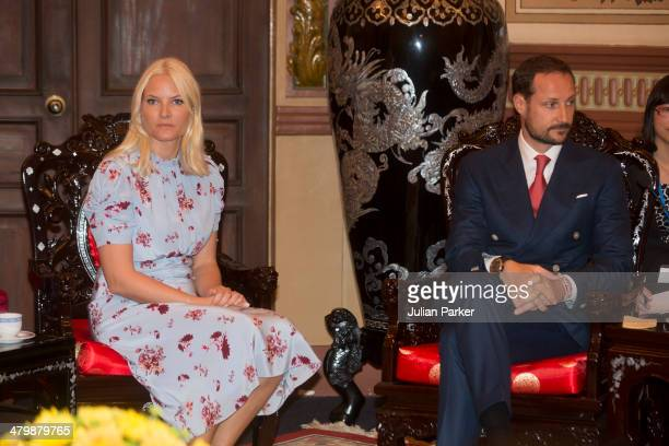 Crown Prince Haakon and Crown Princess MetteMarit of Norway pay a courtesy call on The Leader of the People's Committee of Ho Chi Minh City during...
