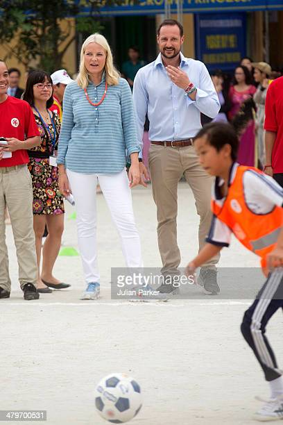 Crown Prince Haakon and Crown Princess MetteMarit of Norway visit Huong An Secondary School during day 2 of an official visit to Vietnam on March 20...
