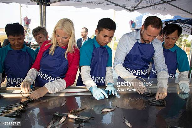 Crown Prince Haakon and Crown Princess MetteMarit of Norway visit Pharmaq by the Mekong Delta and assist with fish vaccination during day 3 of an...