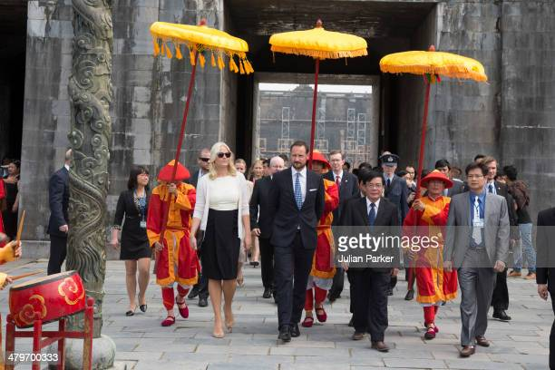 Crown Prince Haakon and Crown Princess MetteMarit of Norway visit The Citadel during day 2 of an official visit to Vietnam on March 20 2014 in Hue...