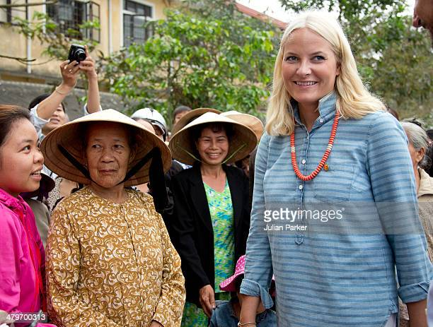 Crown Prince Haakon and Crown Princess MetteMarit of Norway visits Huong An Secondary School during day 2 of an official visit to Vietnam on March 20...