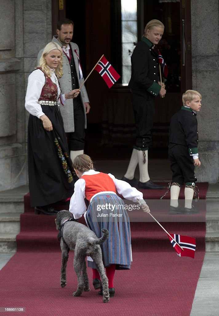 Crown Prince Haakon, and Crown Princess Mette-Marit of Norway, with there children, Princess Ingrid Alexandra, and Prince Sverre Magnus, and Mette's son Marius, and Family Dog, Milly Kakao, celebrate Norway National Day at The Crown Prince couples residence, Skaugum, in Asker, near Oslo on May 17, 2013 in Asker, Norway.