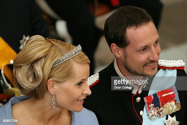 Crown Prince Haakon and his wife Crown Princess MetteMarit of Norway attend the wedding between Danish Crown Prince Frederik and Miss Mary Elizabeth...