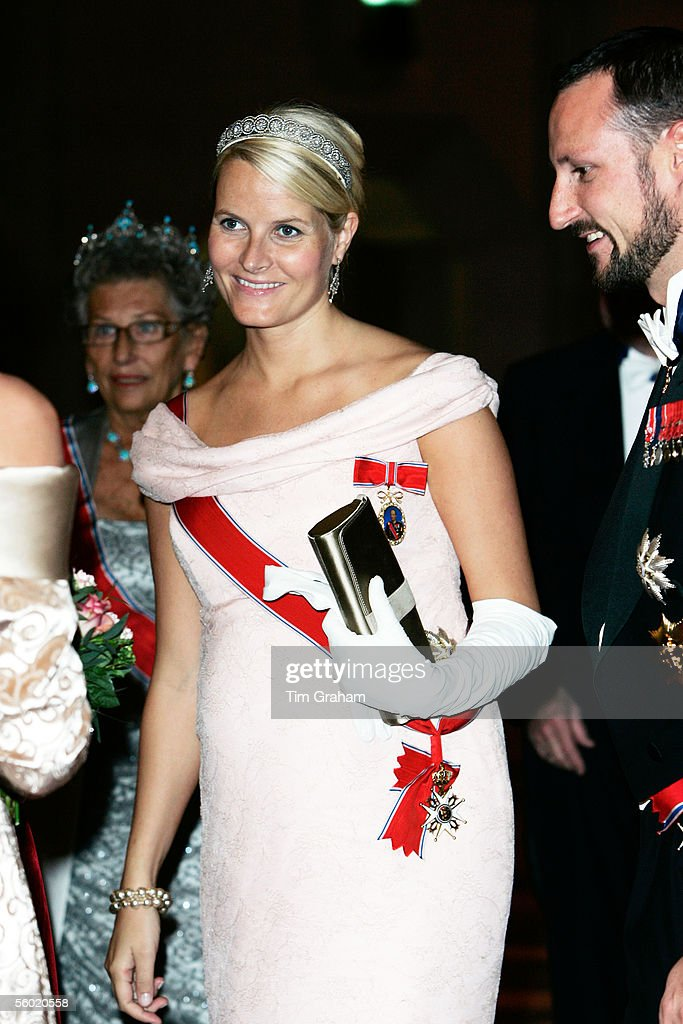 Crown Prince Haakon and Princess Mette-Marit of Norway, pregnant and expecting a baby very soon, attend a dinner held at the Guildhall on October 26, 2005 in London, England.