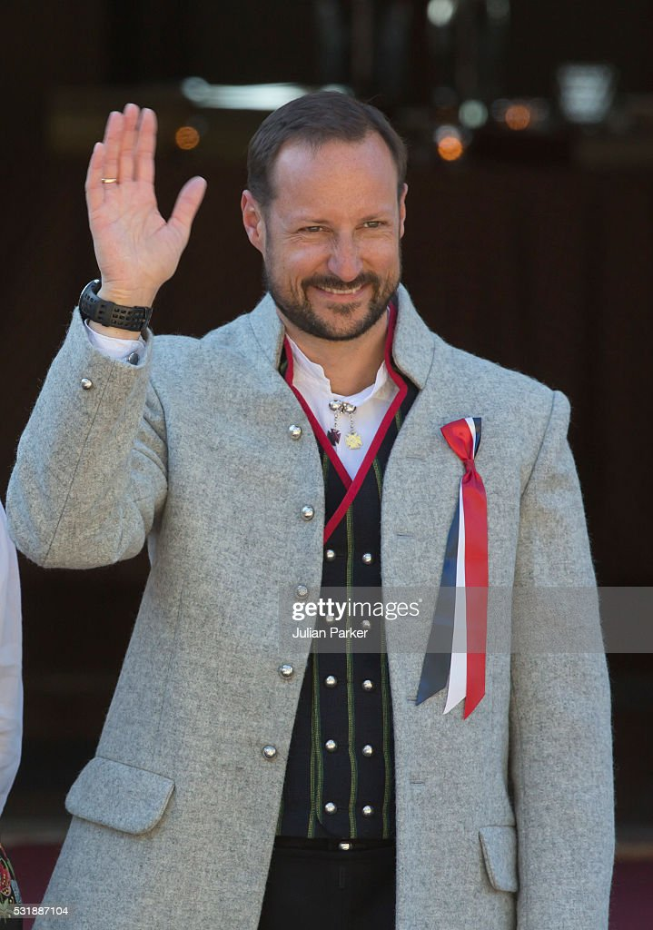 Crown Prince Haakon attends the traditional morning children's parade, at his home, Skaugum, in Asker, near Oslo, on Norway's National Day, on May 17, 2016 in Oslo, Norway.