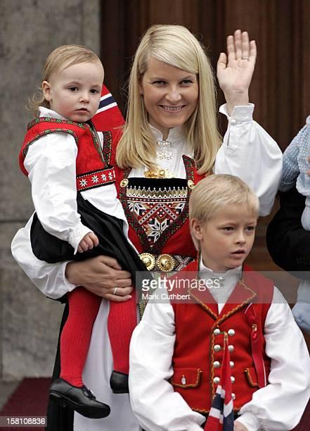 Crown Prince Haakon Crown Princess MetteMarit Princess Ingrid Alexandra Attend The Norway National Day Celebrations In Skaugum