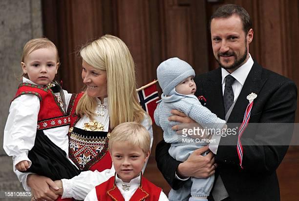 Crown Prince Haakon Crown Princess MetteMarit Princess Ingrid Alexandra Prince Sverre Maguns Marius Borg Hoiby Attend The Norway National Day...