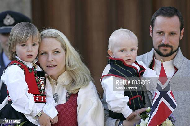 Crown Prince Haakon Crown Princess MetteMarit Princess Ingrid Alexandra Prince Sverre Magnus Attend The Norway National Day Celebrations In Skaugum