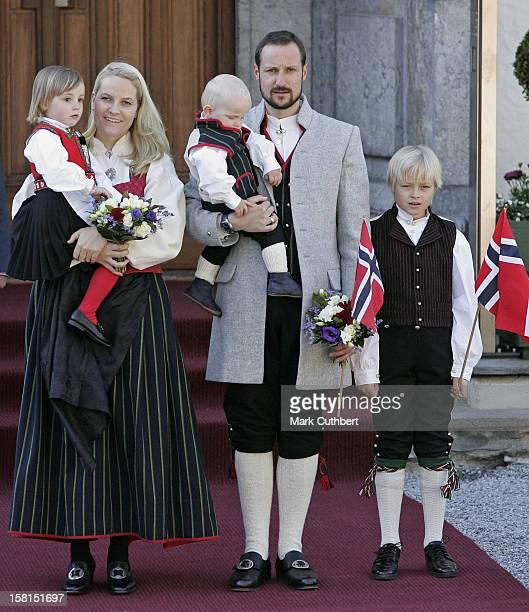 Crown Prince Haakon Crown Princess MetteMarit Princess Ingrid Alexandra Prince Sverre Magnus Marius Borg Hoiby Attend The Norway National Day...