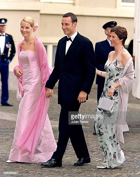 Crown Prince Haakon Crown Princess MetteMarit Princess Martha Louise Of Norway Attend A Gala Dinner At Noordeinde Palace On The Eve Of The Wedding Of...