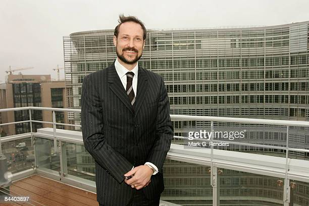 Crown Prince Haakon from Norway poses for a photo on a terras with vieuw over the Berlaymont Building during his visit to the Norway House on January...