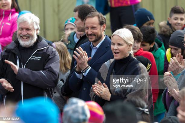 Crown Prince Haakon of Norway and Crown Princess Mette Marit of Norway meet the local people during her visit to the Ice Lake forest in Bjerke...