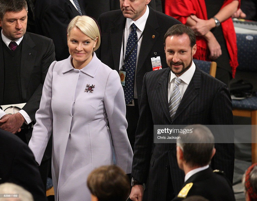 Crown Prince Haakon of Norway and Crown Princess Mette-Marit arrive at the Nobel Peace Prize Ceremony 2008 in Oslo City Hall on December 10, 2008 in Oslo, Norway. The Norwegian Nobel Committee has decided to award the Nobel Peace Prize for 2008 to Martti Ahtisaari for his important efforts, on several continents and over more than three decades, to resolve international conflicts.