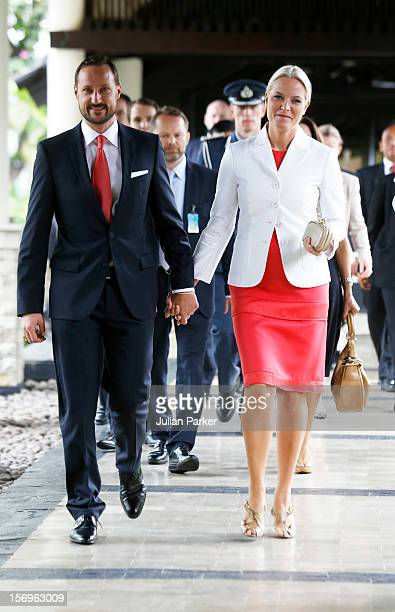 Crown Prince Haakon of Norway and Crown Princess MetteMarit of Norway arrive to take part in a Norwegian seafood promotionmaster class at The...