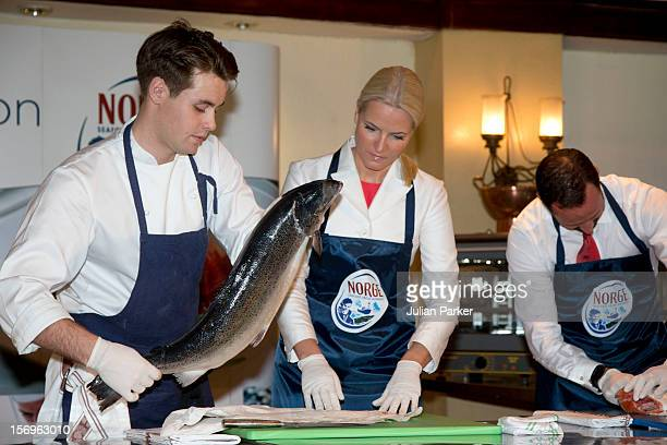 Crown Prince Haakon of Norway and Crown Princess MetteMarit of Norway take part in a Norwegian seafood promotionmaster class with Norwegian chefs at...