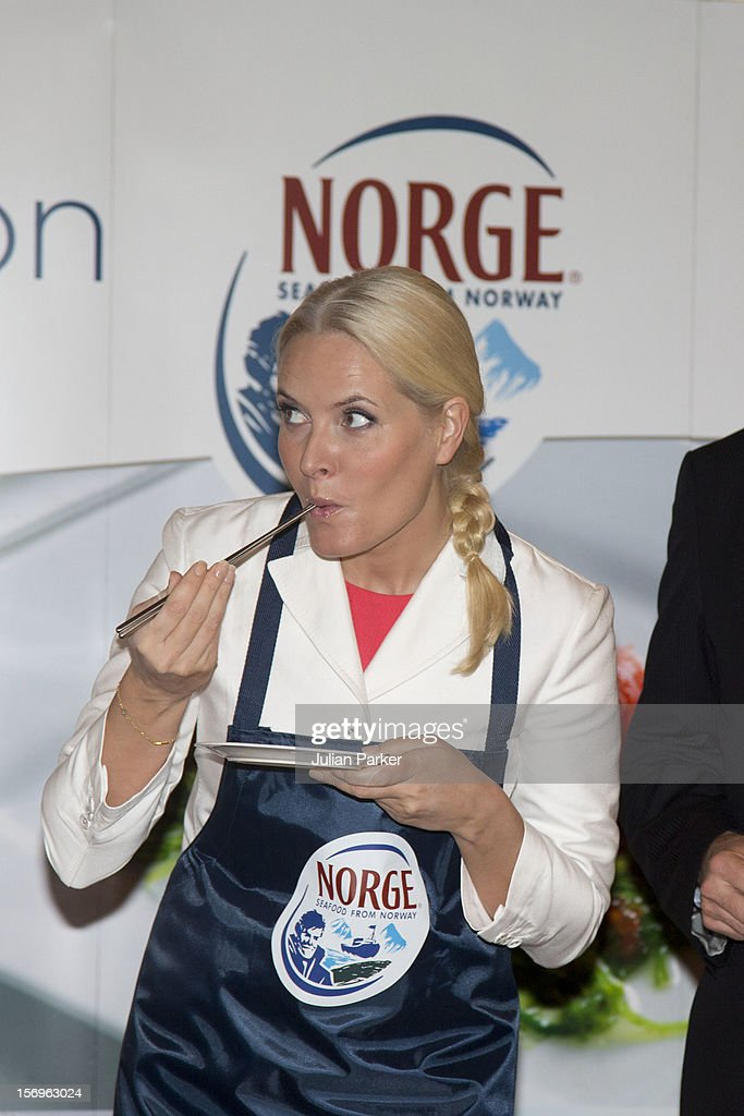 Crown Prince Haakon of Norway and <a gi-track='captionPersonalityLinkClicked' href=/galleries/search?phrase=Crown+Princess+Mette-Marit&family=editorial&specificpeople=171288 ng-click='$event.stopPropagation()'>Crown Princess Mette-Marit</a> of Norway take part in a Norwegian seafood promotion,master class, at The Shangri-La Hotel,in Jarkarta during an official 3-day visit to Indonesia, on November 26, 2012 in Jakarta, Indonesia. The visit intends to strengthen and develop the existing relationship between the countries, especially in relation to the energy, maritime, trade and investment sectors.