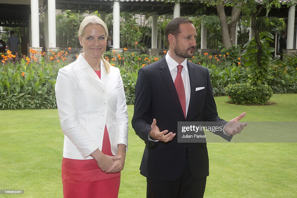 Crown Prince Haakon of Norway and Crown Princess Mette-Marit of Norway take part in a Press meeting at The Shangri-La Hotel,in Jarkarta during an official 3-day visit to Indonesia, on November 26, 2012 in Jakarta, Indonesia. The visit intends to strengthen and develop the existing relationship between the countries, especially in relation to the energy, maritime, trade and investment sectors.