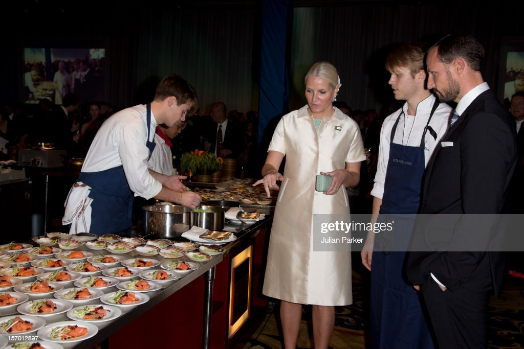 Crown Prince Haakon of Norway and Crown Princess Mette-Marit of Norway attend a Seafood buffet dinner, at The Shangri-La Hotel, Jakarta during an official 3-day visit to Indonesia, on November 27, 2012 in Jakarta, Indonesia. The visit intends to strengthen and develop the existing relationship between the countries, especially in relation to the energy, maritime, trade and investment sectors.