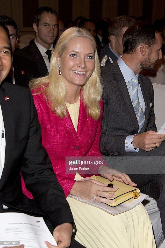 Crown Prince Haakon of Norway and Crown Princess Mette-Marit of Norway attend a Business Plenary session, Indonesia-Norway, Strategic partnership in Business, at The Shangri-La Hotel, Jakarta, during an official 3-day visit to Indonesia, on November 27, 2012 in Jakarta, Indonesia. The visit intends to strengthen and develop the existing relationship between the countries, especially in relation to the energy, maritime, trade and investment sectors.