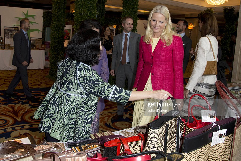 Crown Prince Haakon of Norway and Crown Princess Mette-Marit of Norway tour an eco marketplace exhibition at The Shangri-La Hotel, Jakarta, during an official 3-day visit to Indonesia, on November 27, 2012 in Jakarta, Indonesia. The visit intends to strengthen and develop the existing relationship between the countries, especially in relation to the energy, maritime, trade and investment sectors.